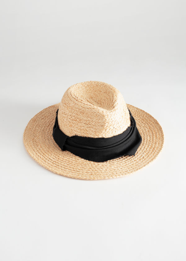 Front image of Stories woven straw fedora in beige