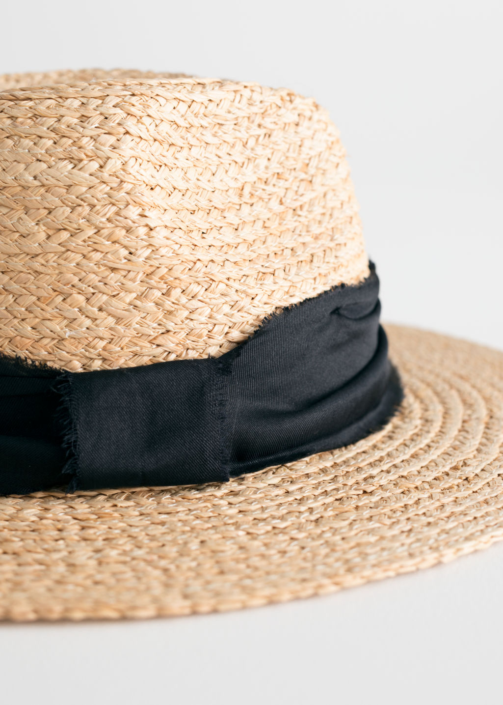 Back image of Stories woven straw fedora in beige
