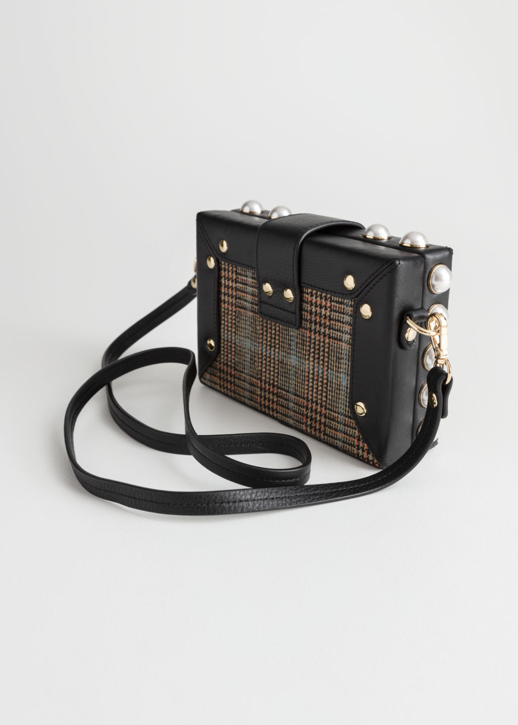 Back image of Stories structured pearl framed crossbody in black