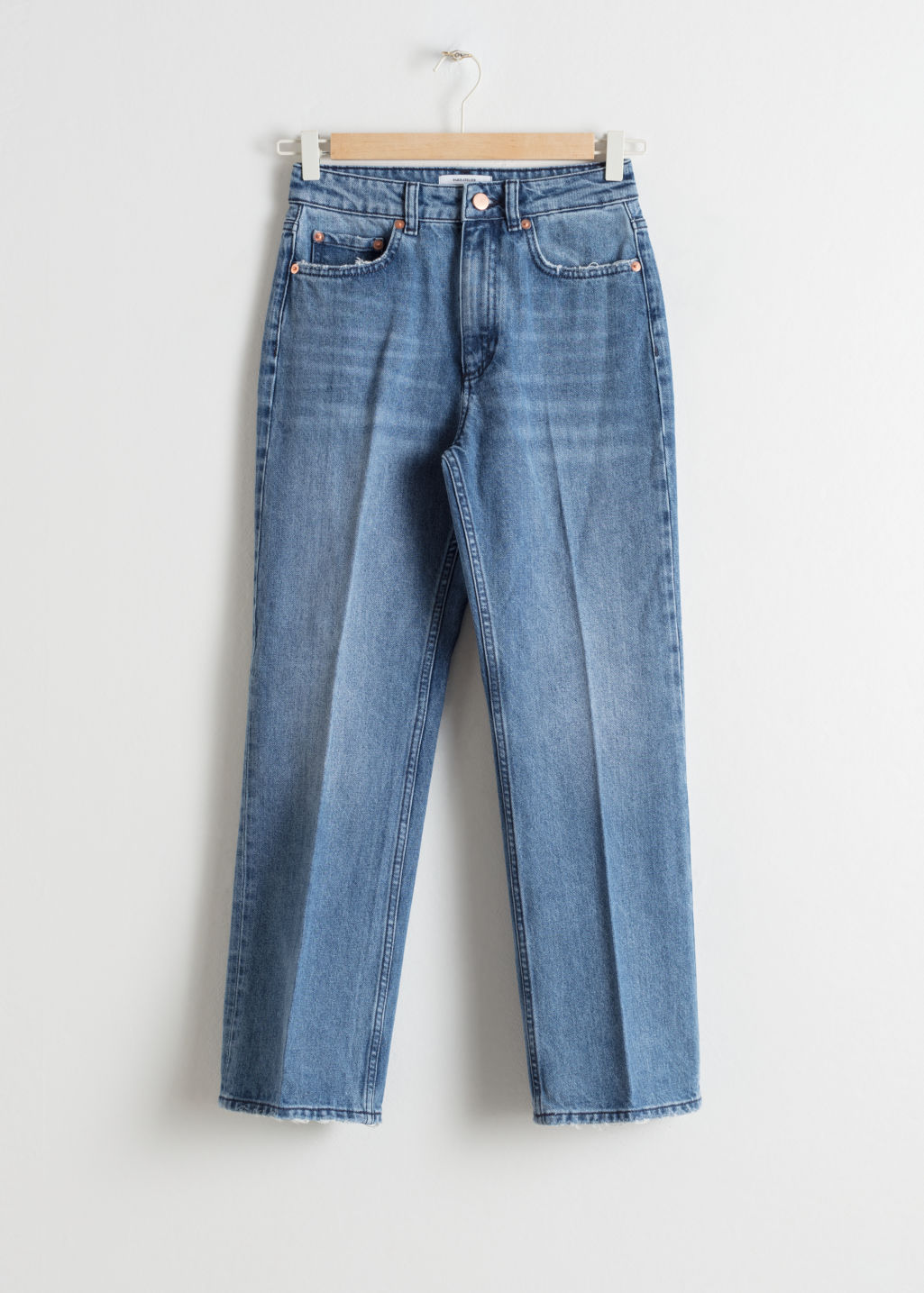 Front image of Stories high cropped flare jeans in blue