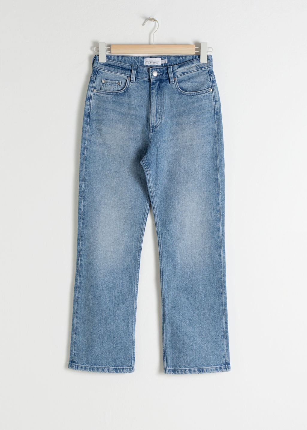 Front image of Stories high cropped kick flare jeans in blue