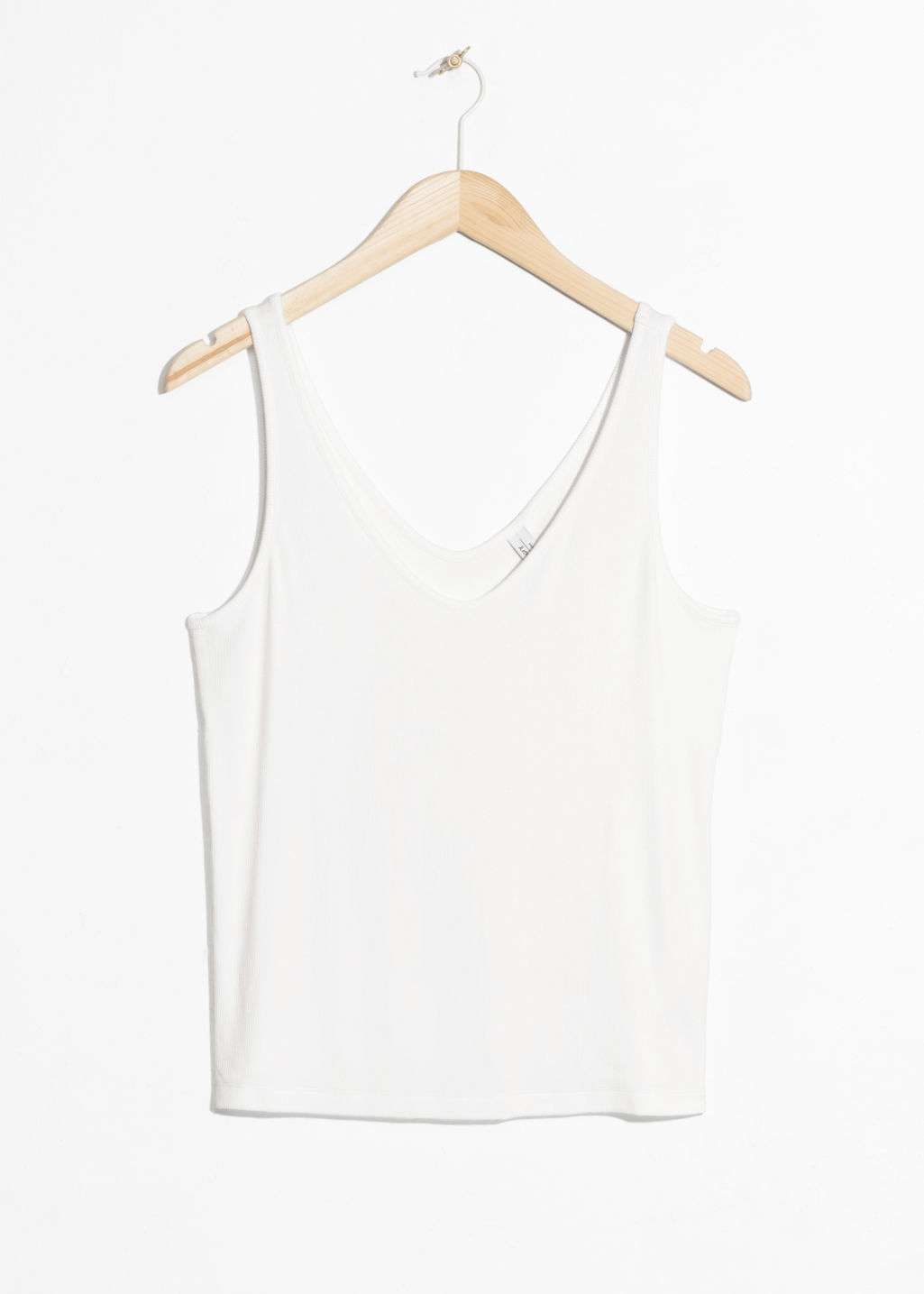 Front image of Stories ribbed scoop tank top in white