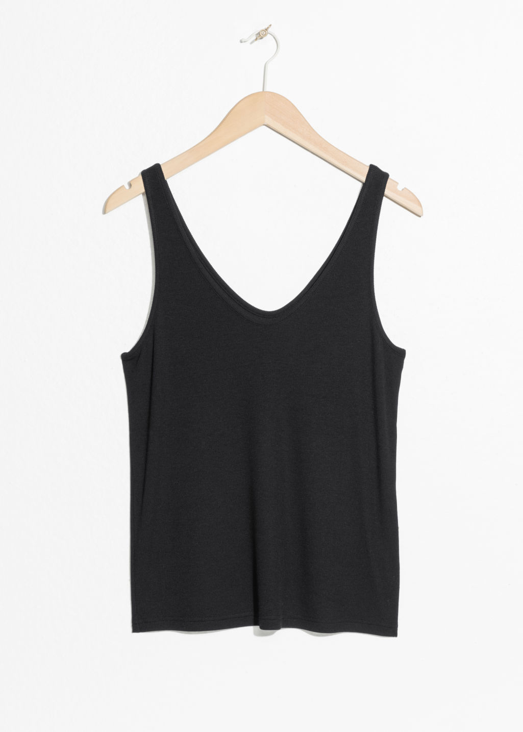 Front image of Stories ribbed scoop tank top in black