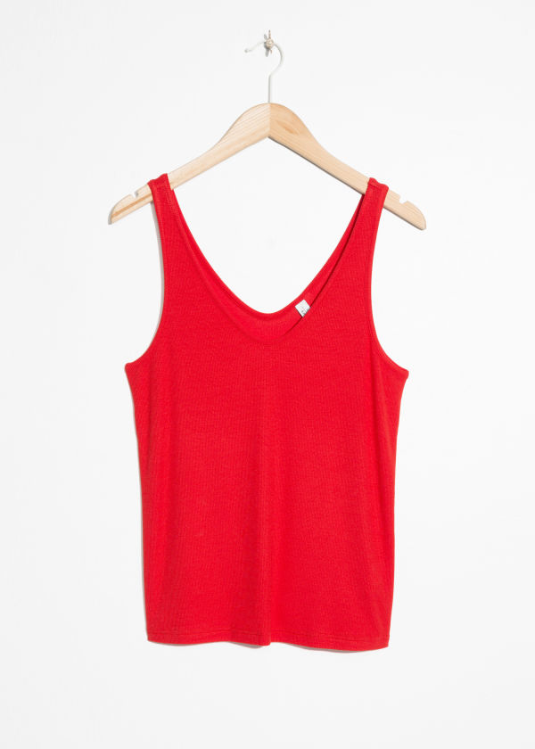 Front image of Stories ribbed scoop tank top in red