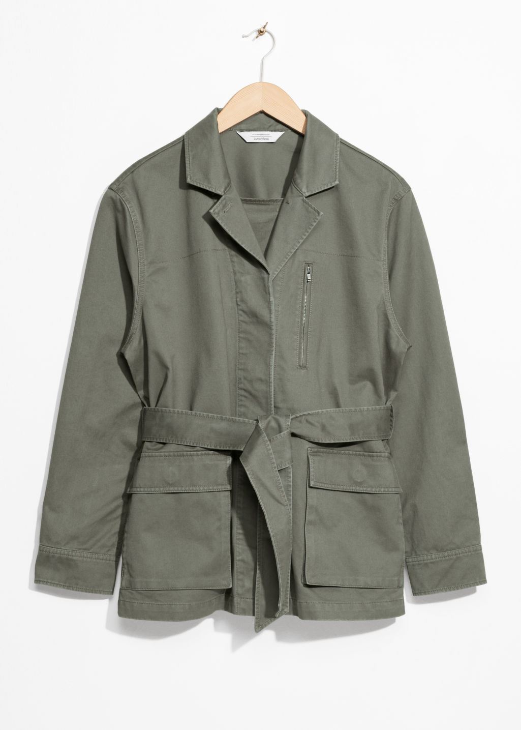 Front image of Stories belted army jacket in green