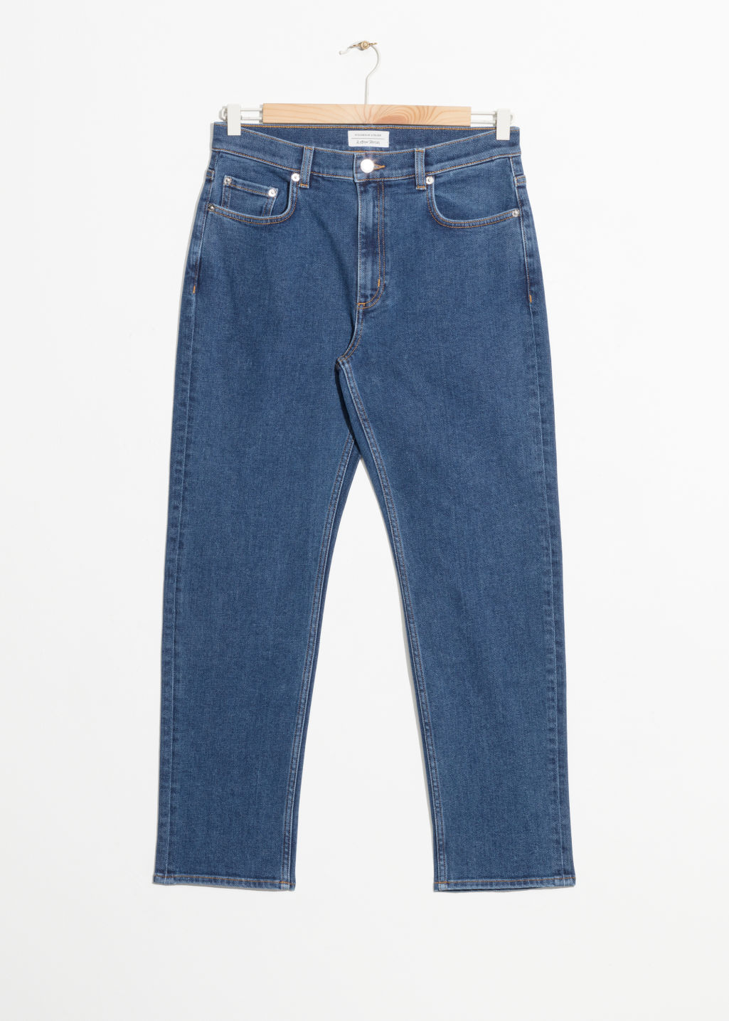 Front image of Stories loose tapered fit jeans in blue
