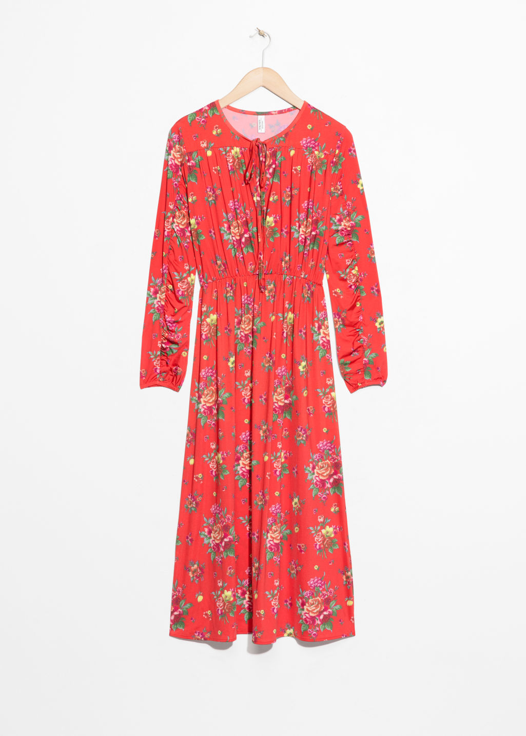 Front image of Stories printed ruched midi dress in red