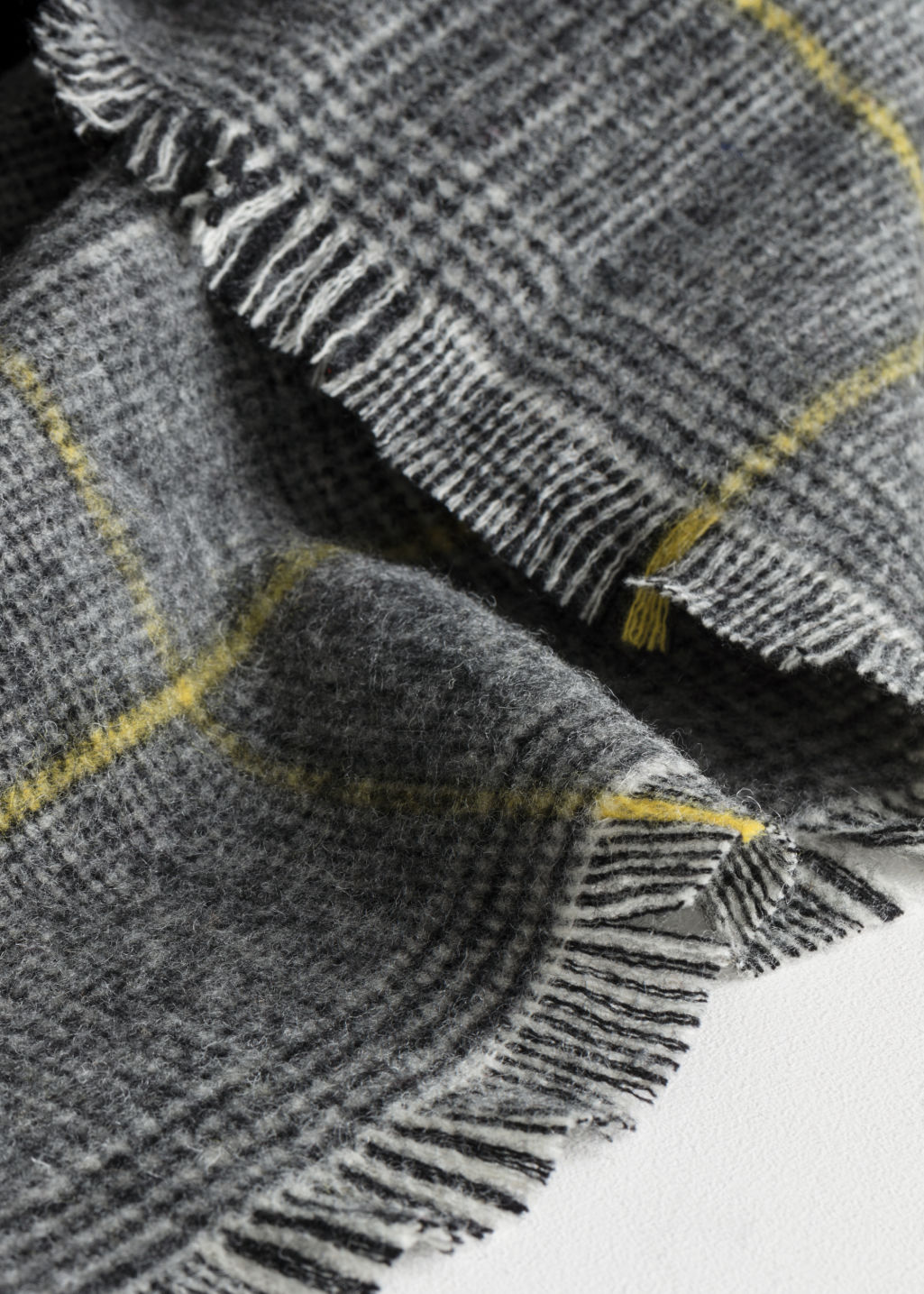 Back image of Stories wool plaid scarf in yellow