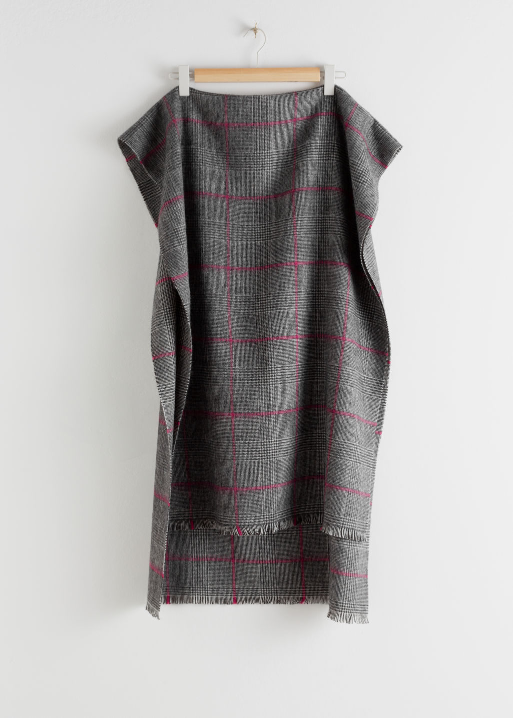 Front image of Stories wool plaid scarf in white