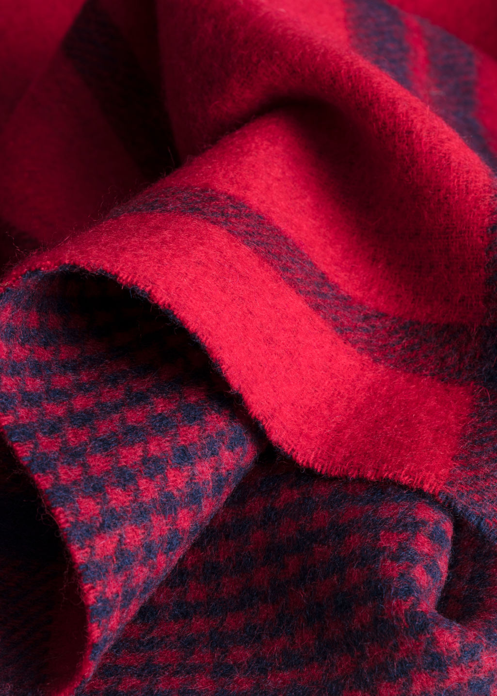 Back image of Stories houndstooth plaid wool scarf in red