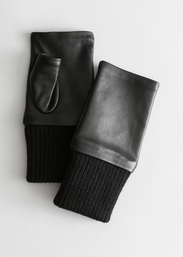 Leather Fingerless Mittens