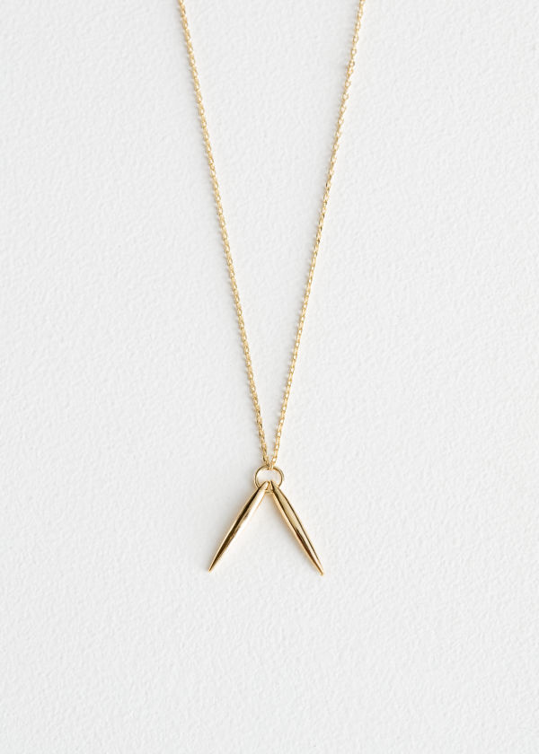 Front image of Stories duo bar charm necklace in gold
