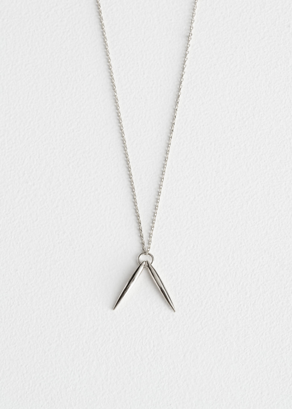 Front image of Stories duo bar charm necklace in silver