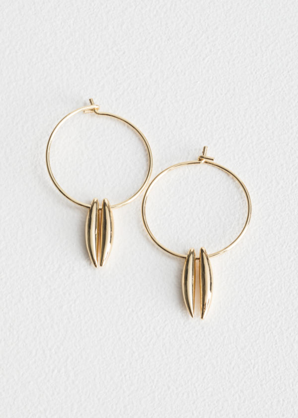 Front image of Stories duo bar charm hoop earrings in gold