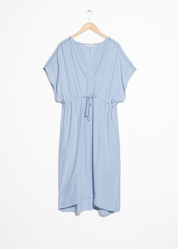 Front image of Stories drawstring kaftan  in blue