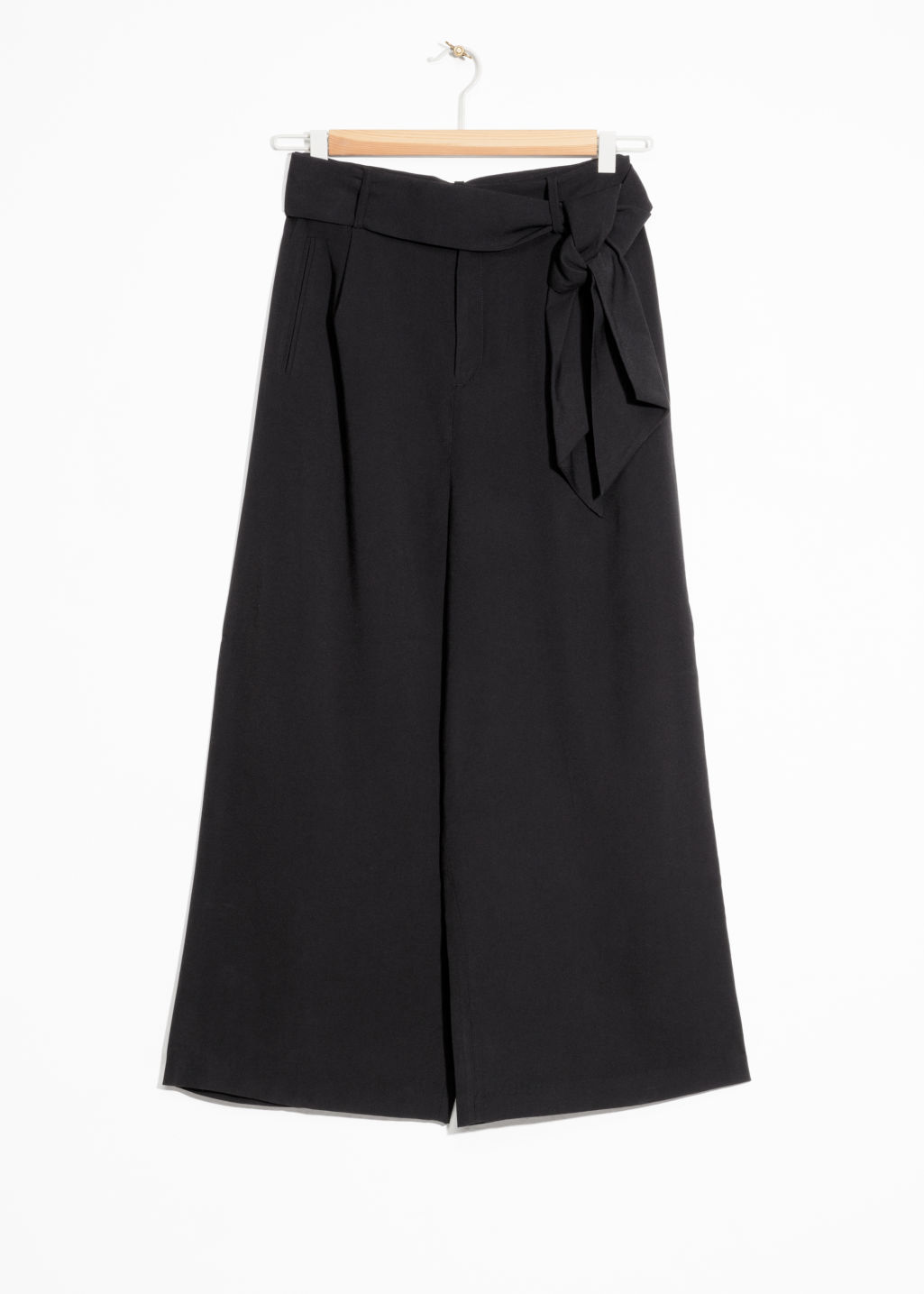 Front image of Stories side tie culottes in black