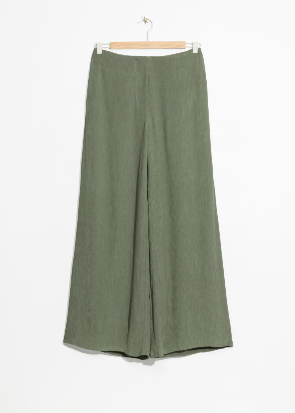 Front image of Stories wide crepe trousers in green