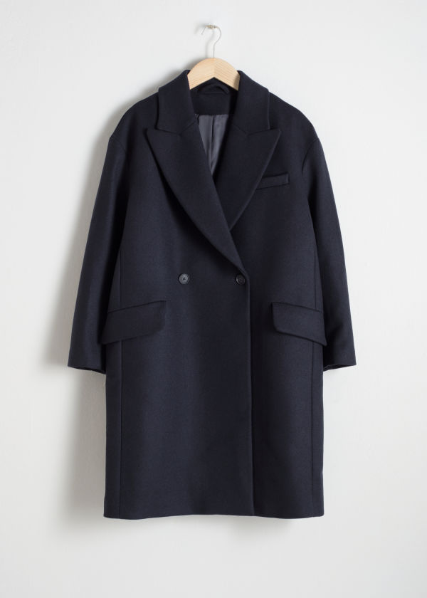 Front image of Stories wool blend straight coat in blue