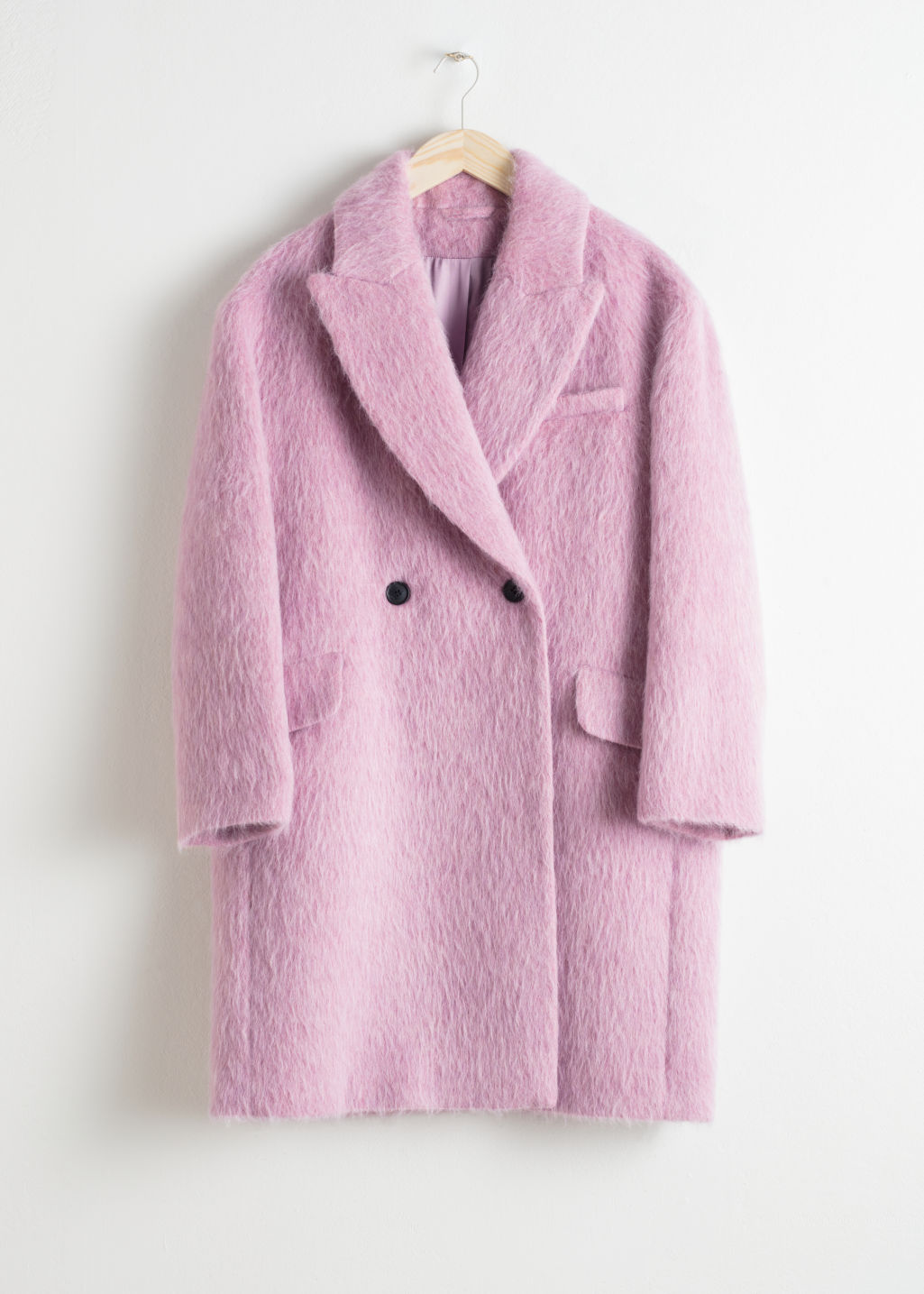 Front image of Stories wool blend straight coat in pink
