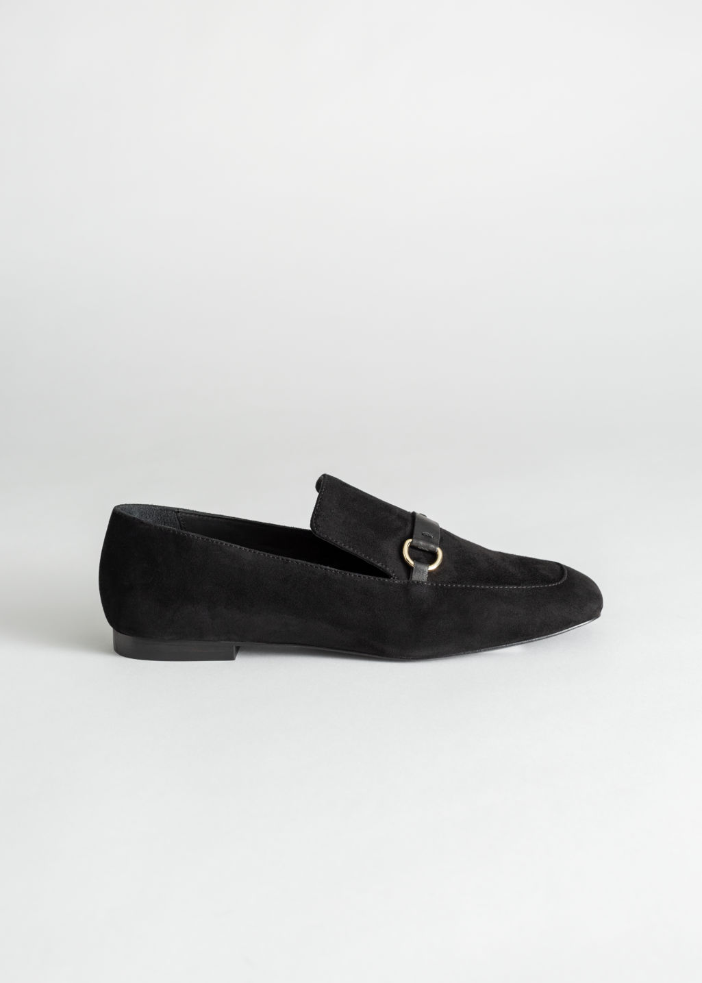 Back image of Stories square toe equestrian loafer in black
