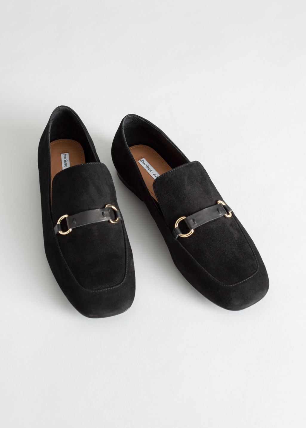 Front image of Stories square toe equestrian loafer in black