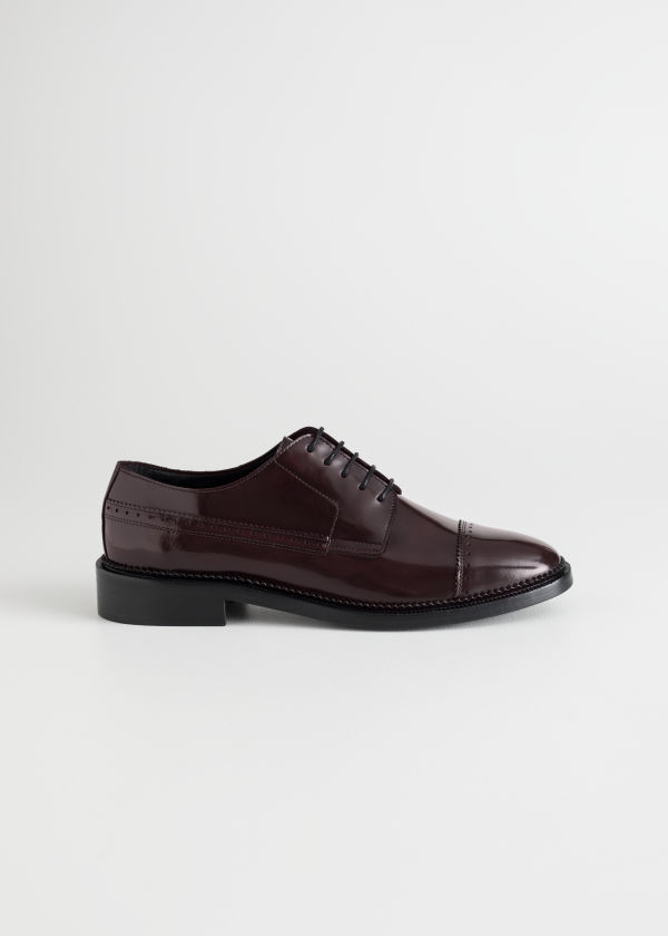 Front image of Stories leather oxfords in red