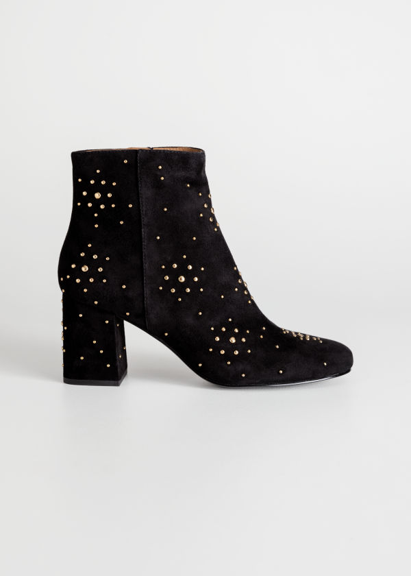 Front image of Stories dome studded suede boots in black