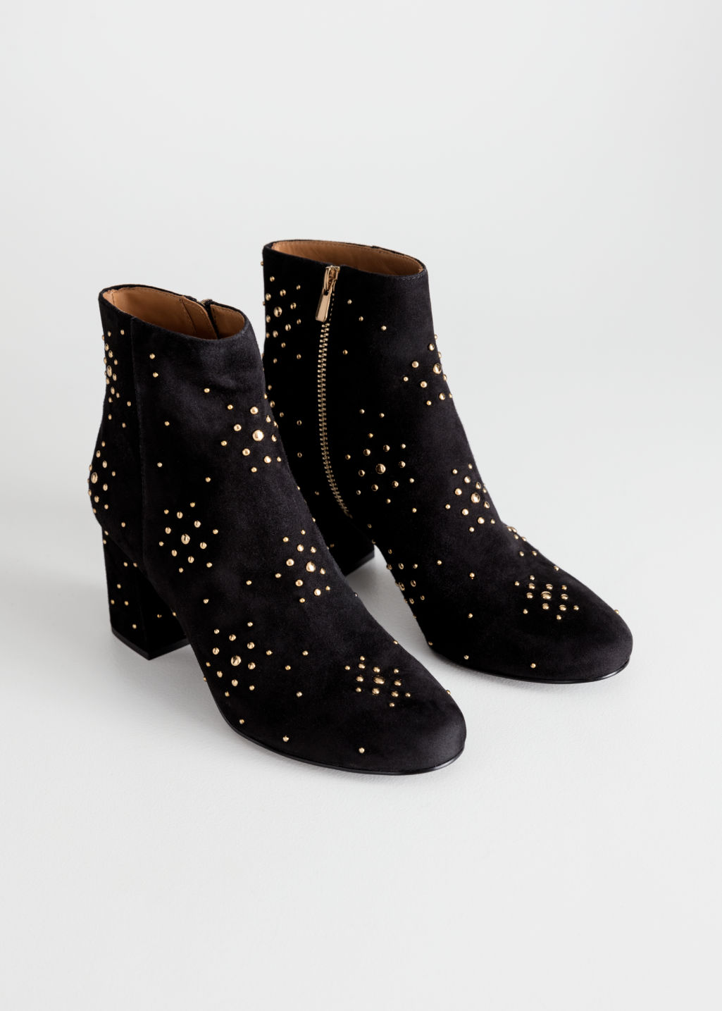 Back image of Stories dome studded suede boots in black