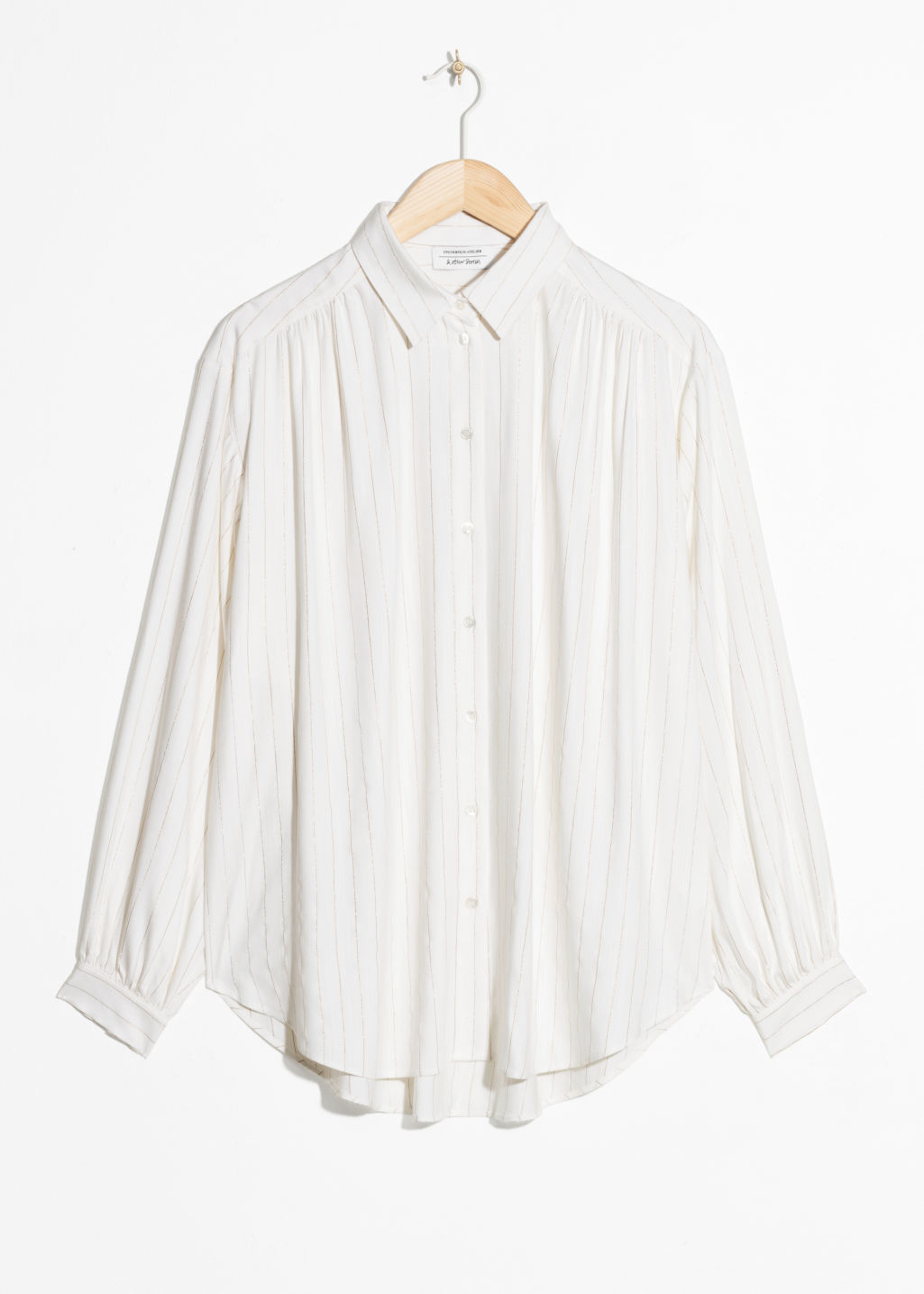 Front image of Stories oversized billowy shirt in white