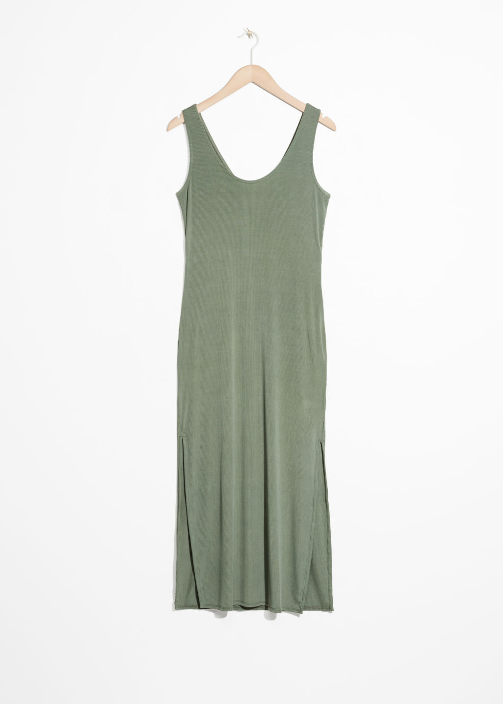 Front image of Stories scoop neck midi dress in green