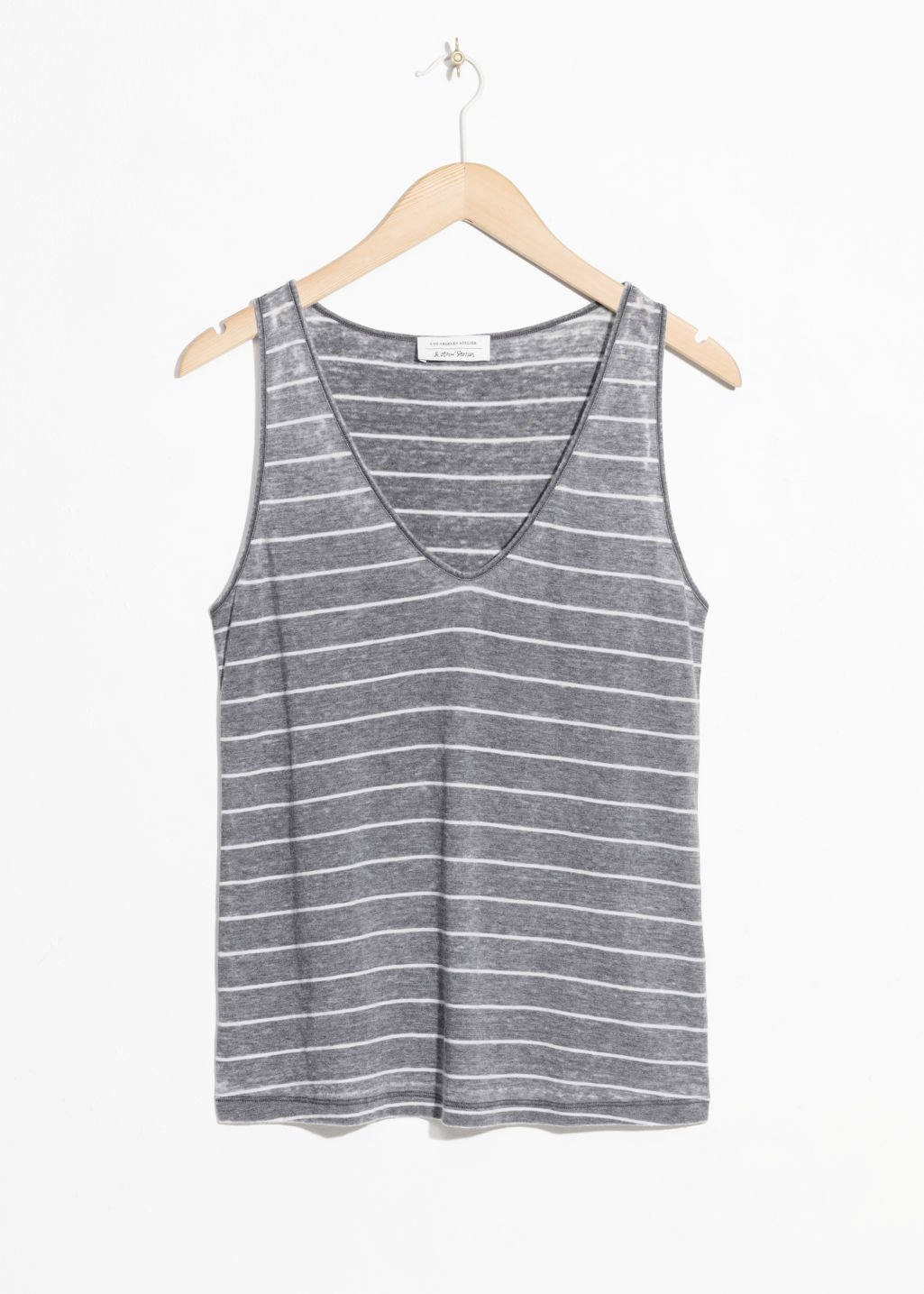 Front image of Stories scoop neck tank  in grey