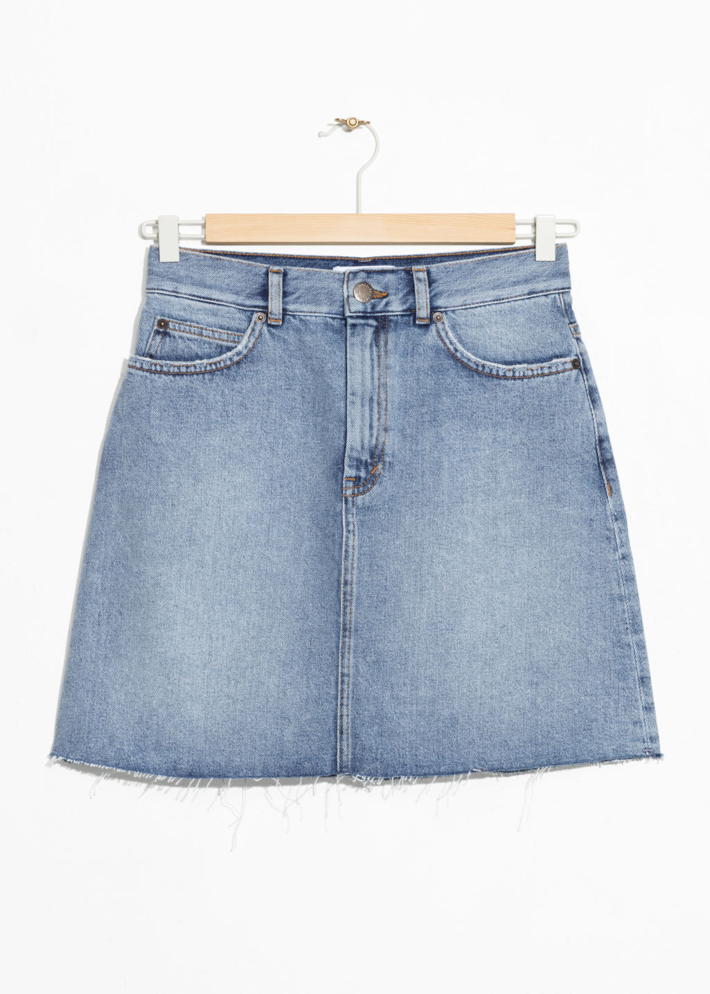 Front image of Stories raw edge denim skirt  in blue