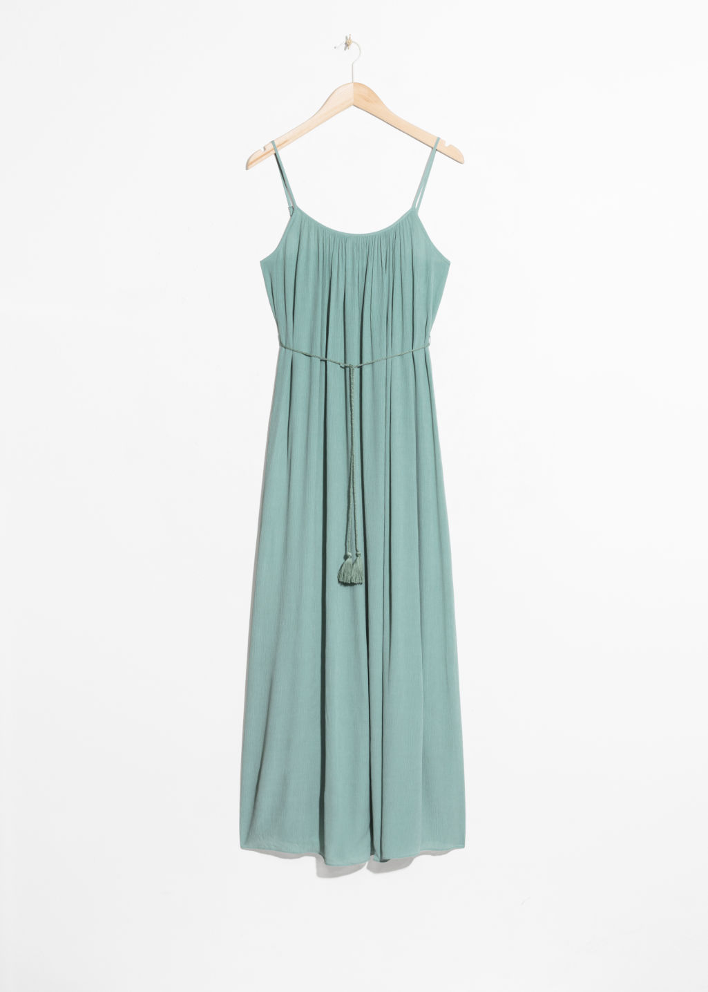 Front image of Stories flowy belted maxi dress in turquoise