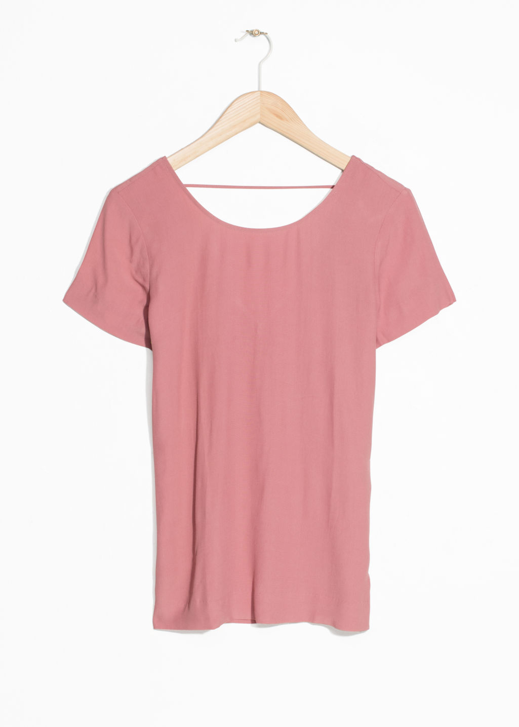 Front image of Stories low back blouse in pink