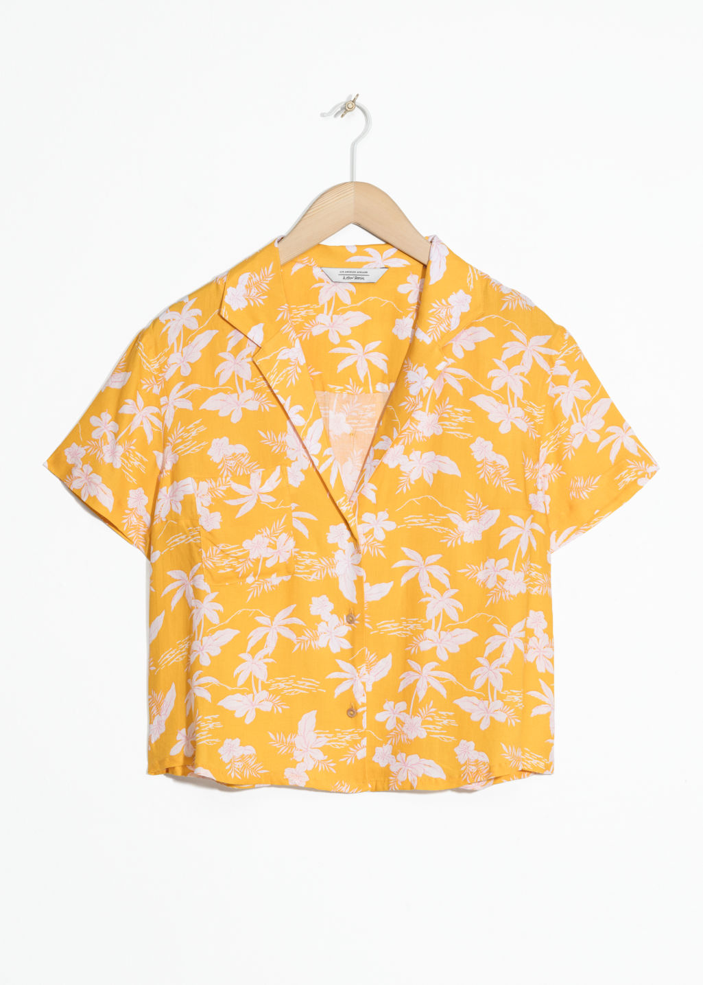 Front image of Stories tropical print shirt in yellow