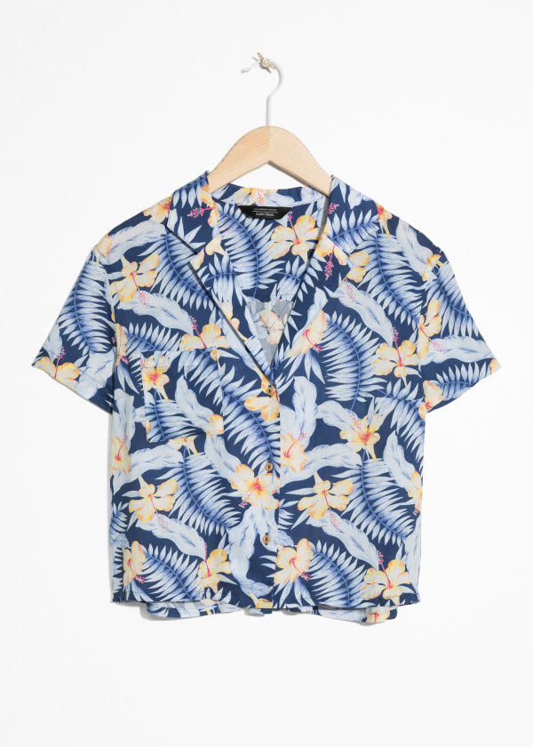 Front image of Stories tropical print shirt in blue