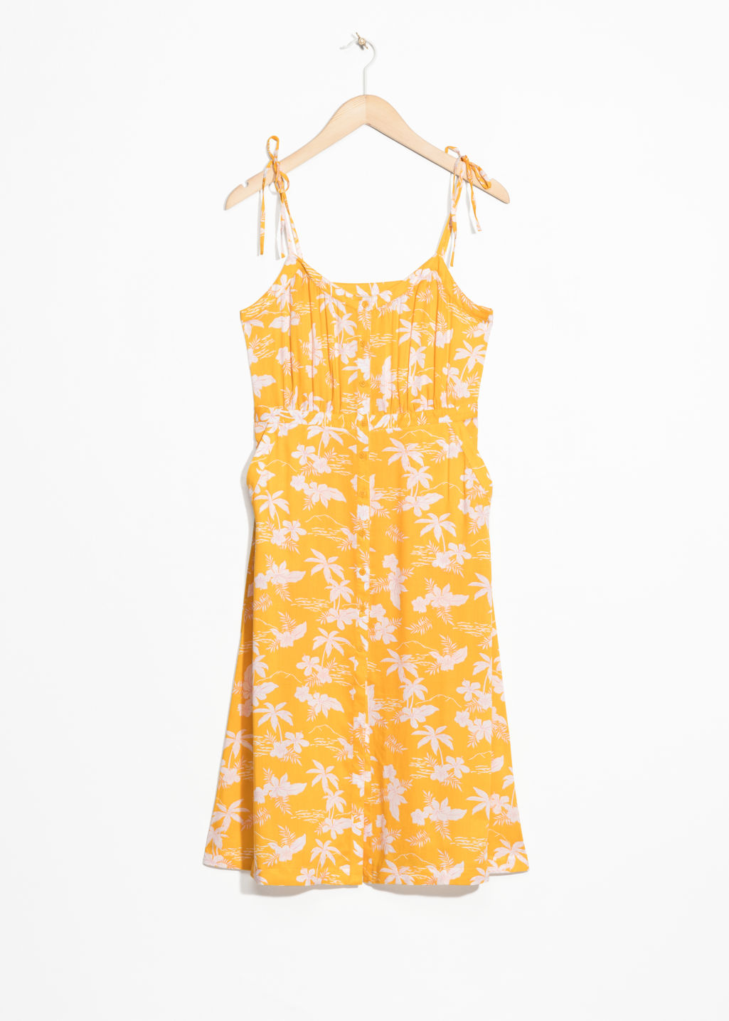 Front image of Stories tropical print sundress in yellow