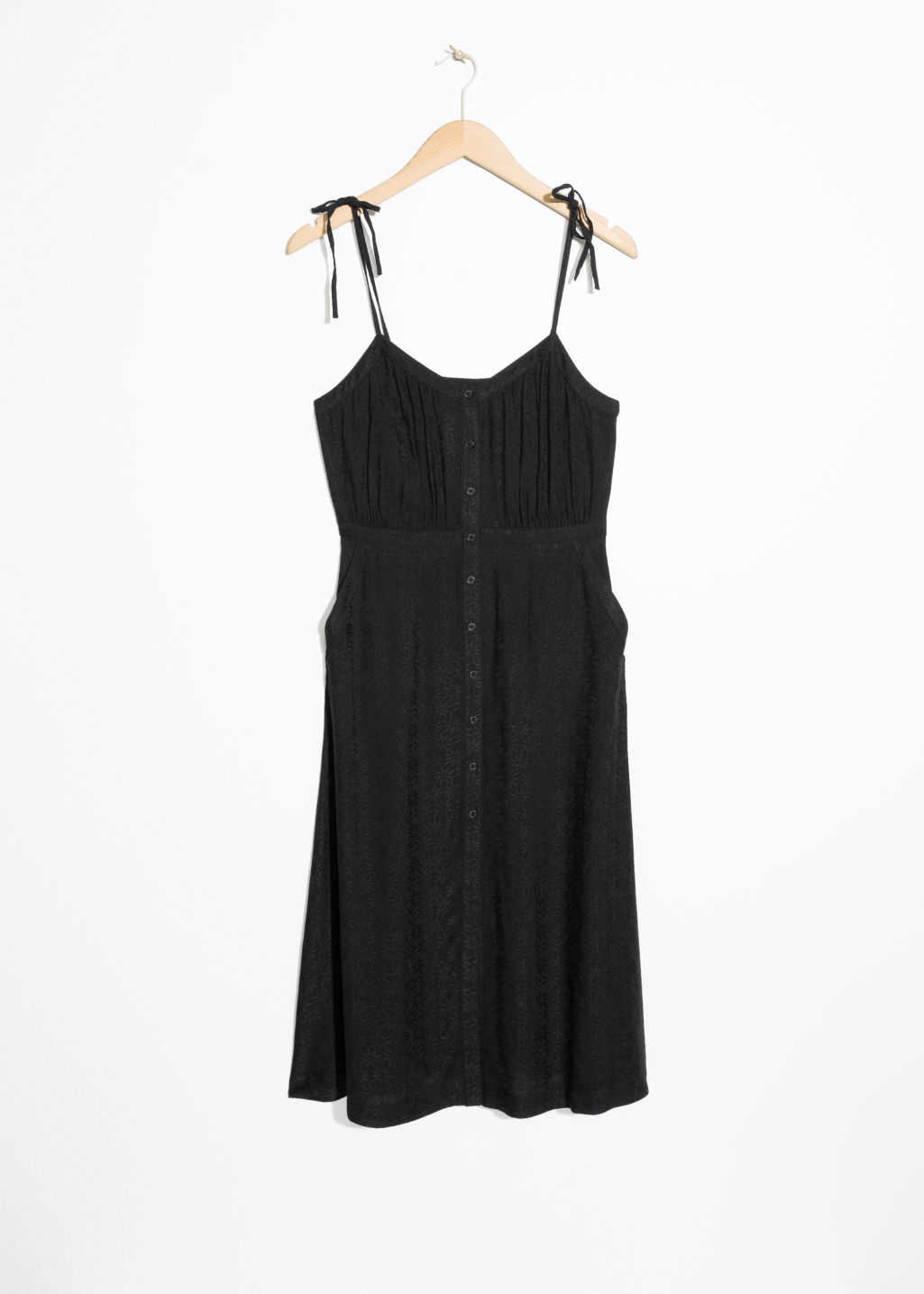 Front image of Stories printed sundress in black