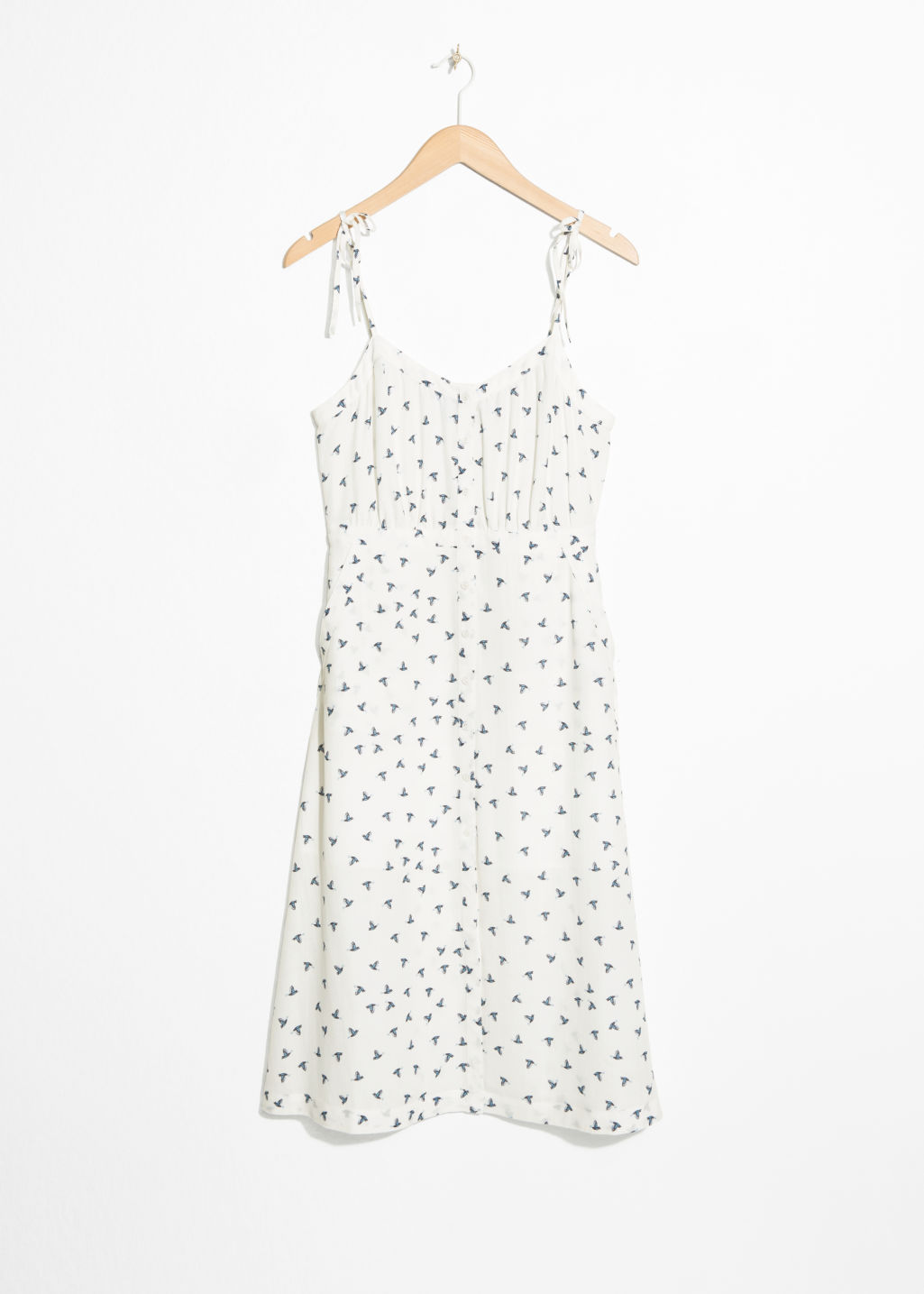 Front image of Stories printed sundress in white