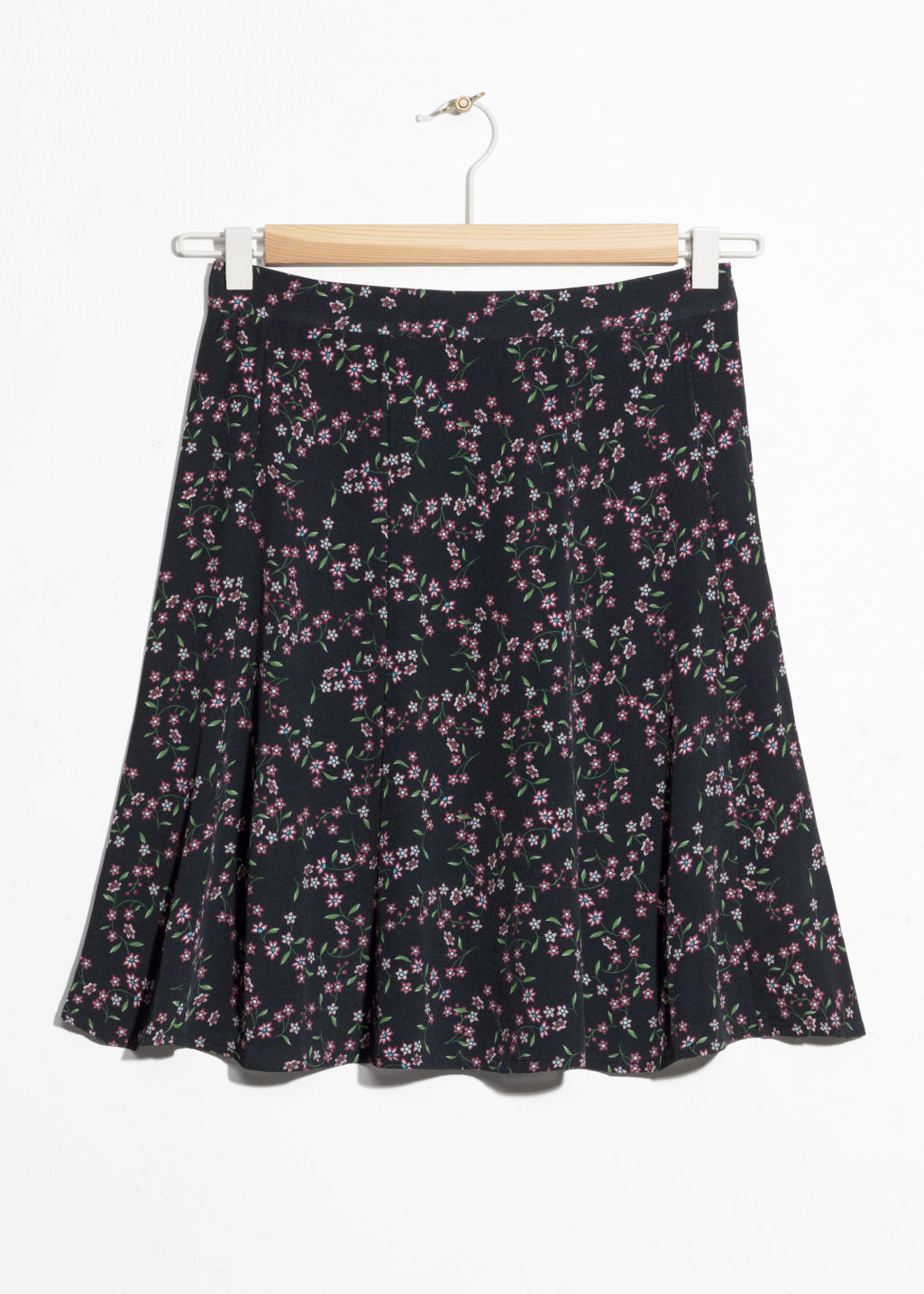 Front image of Stories floral print circle skirt  in black