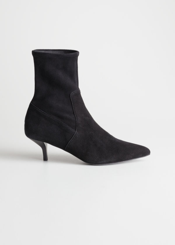Front image of Stories suede sock kitten heel boot in black