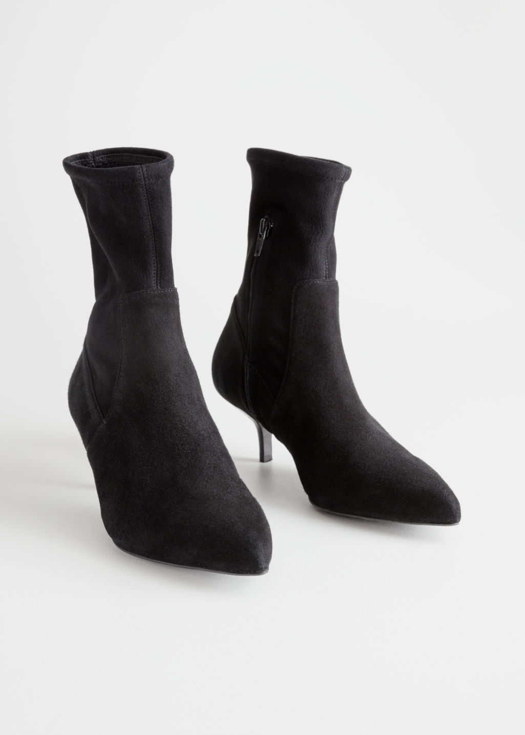 Back image of Stories suede sock kitten heel boot in black