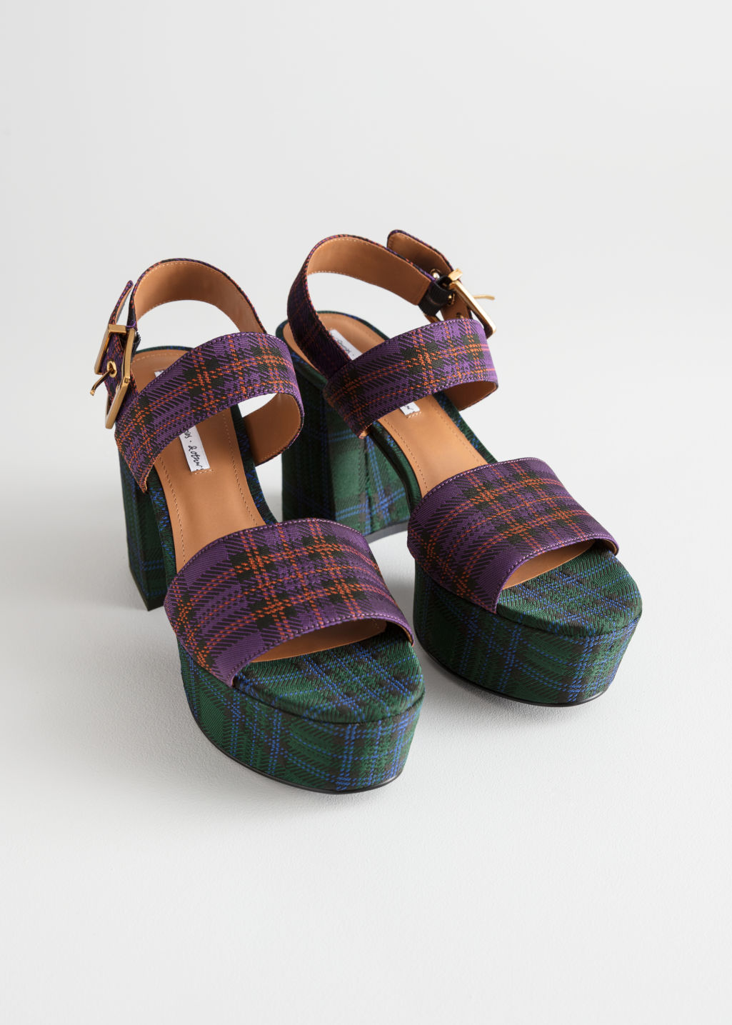 Back image of Stories duo plaid platform heels in blue