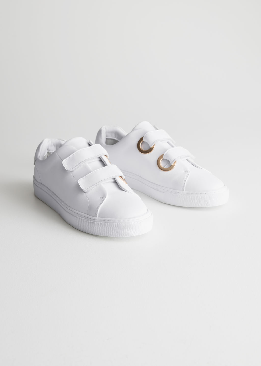 Back image of Stories duo scratch strap sneakers in white