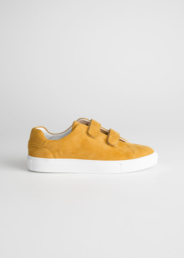 Front image of Stories duo scratch strap sneakers in yellow
