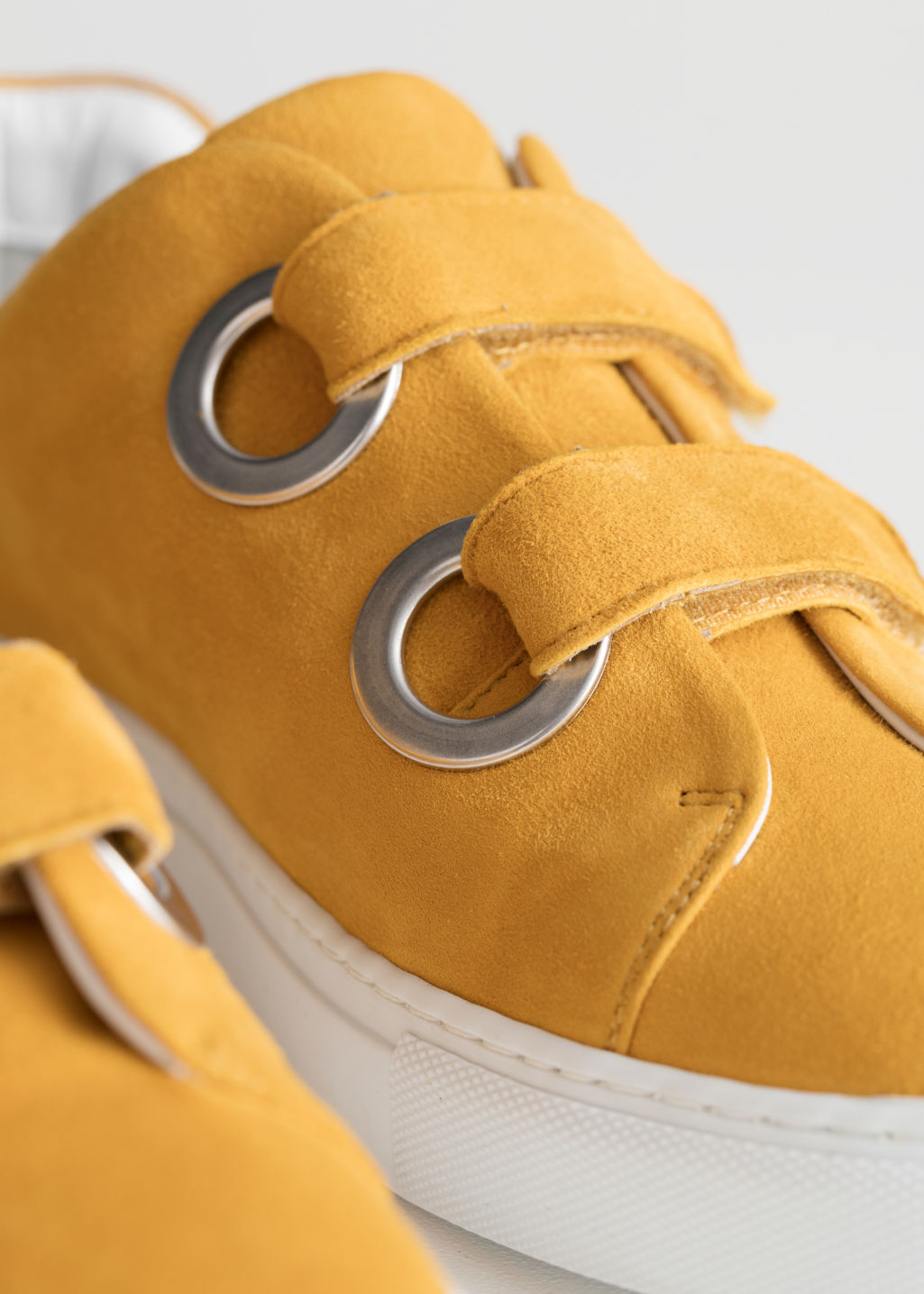 Back image of Stories duo scratch strap sneakers in yellow