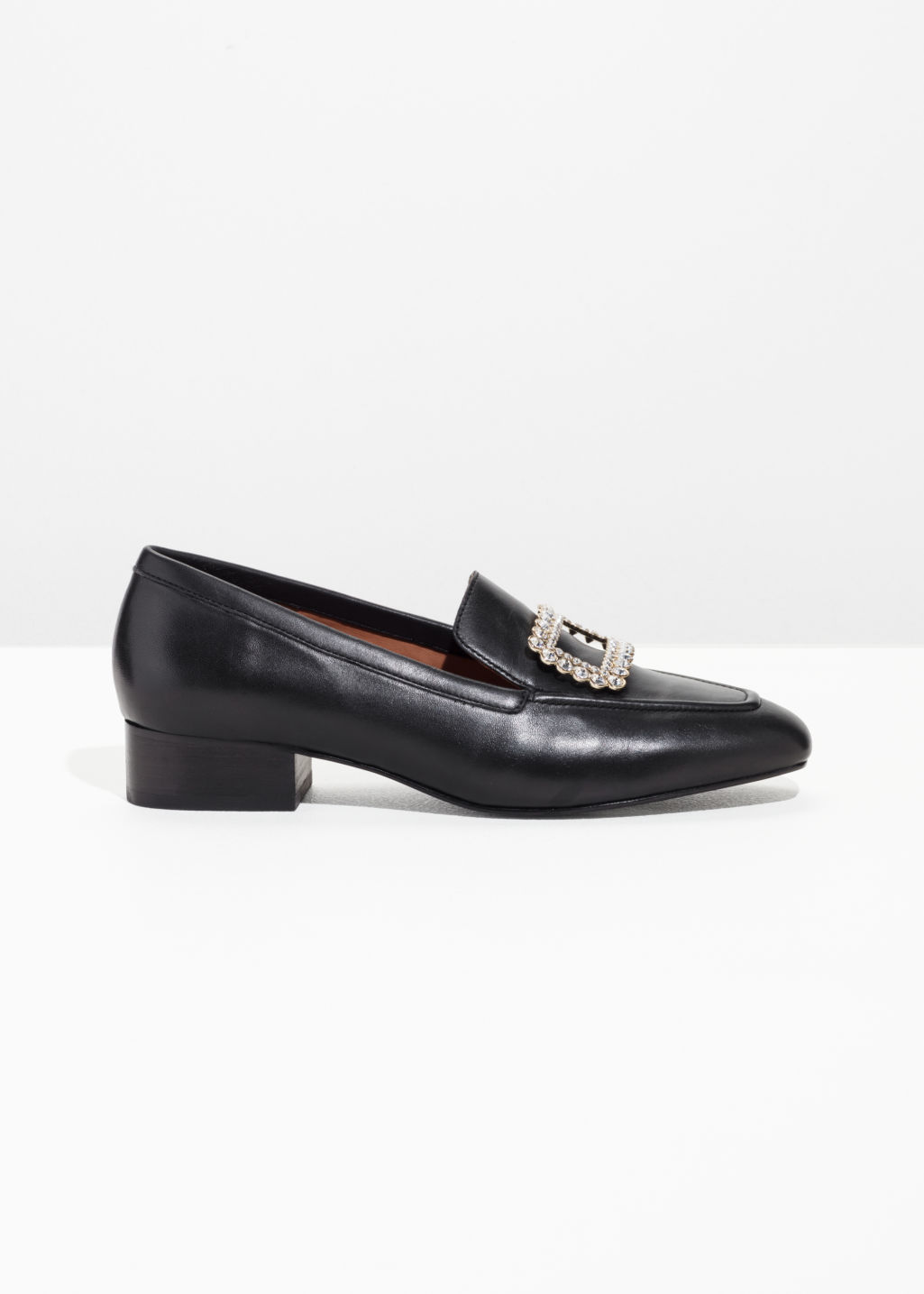 Front image of Stories jewelled loafer in black