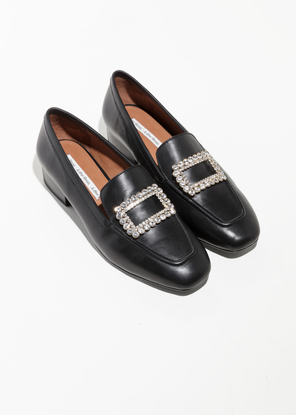 Back image of Stories jewelled loafer in black