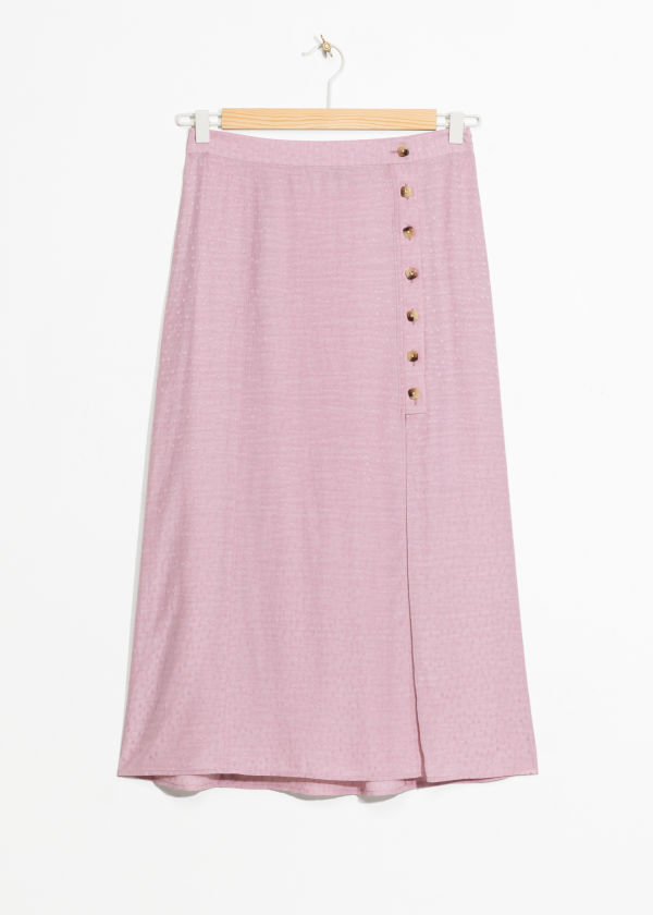 Asymmetrical Button Midi Skirt