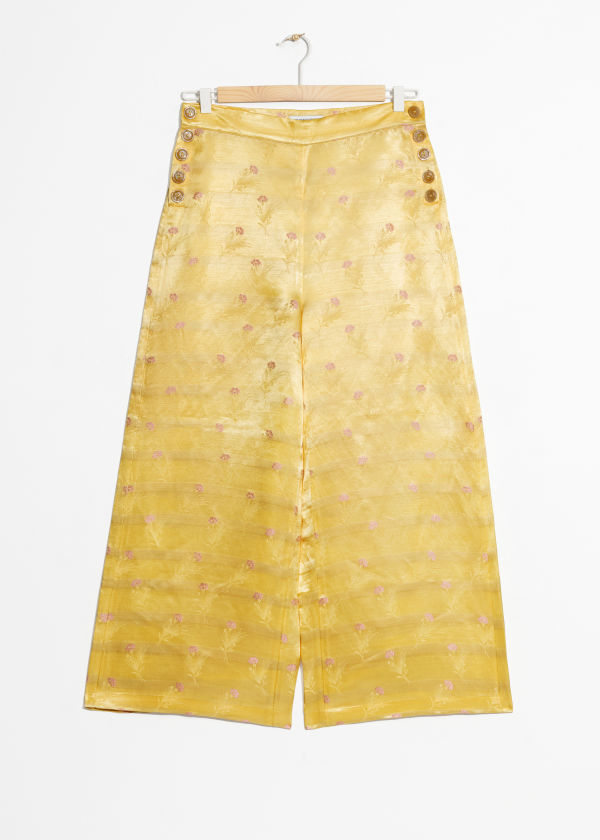 Front image of Stories floral satin wide trousers in yellow